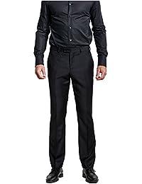 Mens Formal Dress Slim Fit Flat Straight Iron Free Pants Black