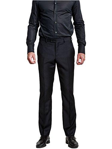HBDesign Mens Formal Dress Slim Fit Flat Straight Iron Free Pants Black 34W31L ()