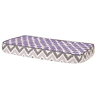Bacati Ikat Zigzag Grey & Muslin Purple Dots Changing Pad Cover