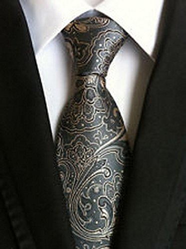[MINDoNG Necktie Paisley Gray JACQUARD WOVEN Men's Tie GAG # 33211] (James Bond Womens Costumes)