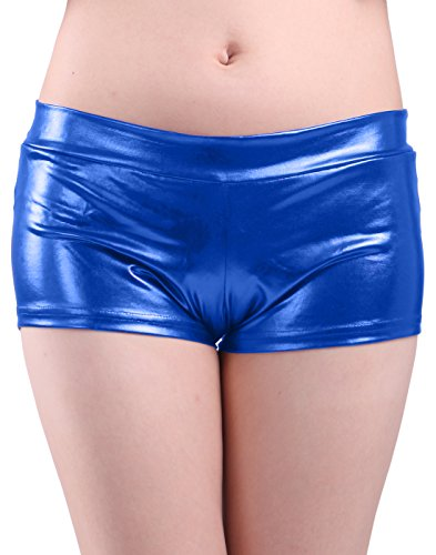 HDE Womens Shorts Metallic Liquid