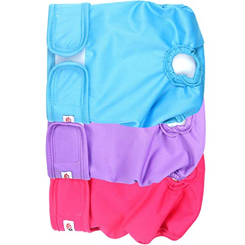Wegreeco Washable Reusable Premium Dog Diapers, Medium, Bright Color, for Female Dog, Pack of 3 (Doggie Diapers For Female Dogs In Heat)