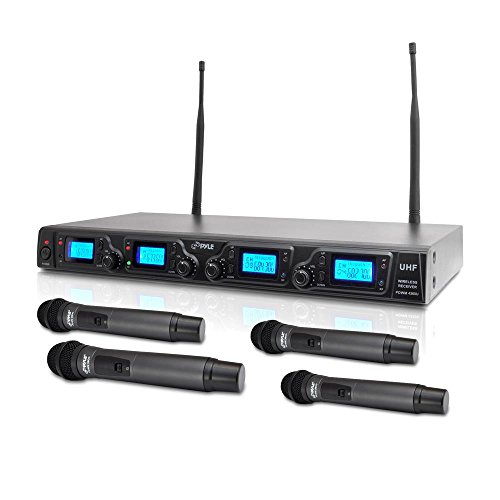 4 Channel Handheld (PYLE PDWM4360U 4 Channel UHF Adjustable Fequencies Wireless Microphone System, UHF, 4 Handheld Microphones, Rack Mountable)
