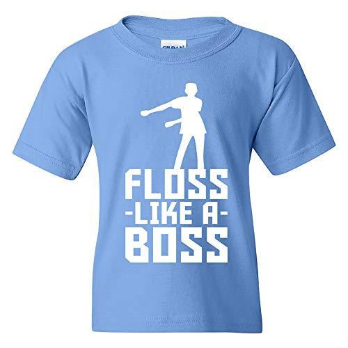 Floss Like A Boss - Flossin Dance Funny Emote Youth T Shirt - Small - Carolina - Long Carolina Sleeve Usa