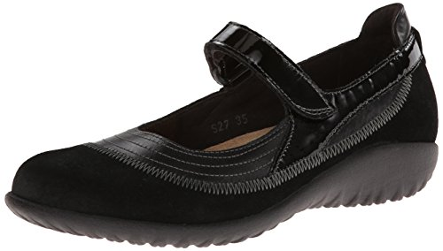 Naot Women's Kirei Mary Jane Flat,Black Madras Leather/Black Suede/Black Patent Leather,35 EU/4 M US