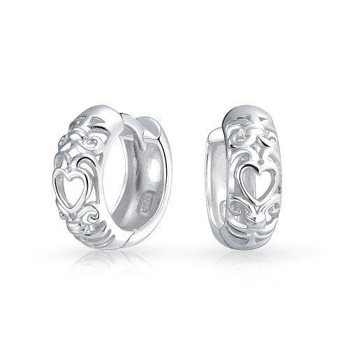 Sterling Silver Open Heart Filigree Huggie Hoop Earrings