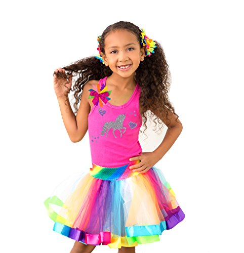 a70866e88 Bubblegum Divas Little Girls Unicorn Shirt Rainbow Tutu Birthday Outfit  Socks Hair Bow 5-6