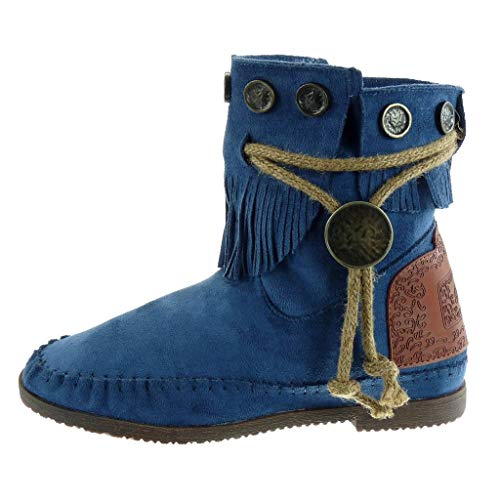 Ancho 1 Angkorly Mujer Metálico Fleco Botas Mocasines Cm Zapatillas 5 Tacón Azul Tanga Botines Moda TxqAST