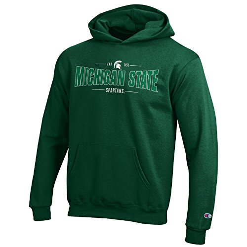 Champion NCAA Youth Long Sleeve Fleece Hoodie Boy's Collegiate Sweatshirt Michigan State Spartans Large