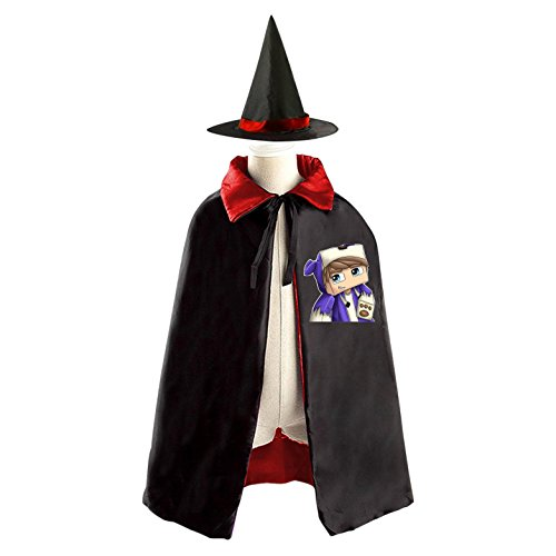 Cute SSundee Kids Halloween Party Costume Cloak Wizard Witch Cape With Hat