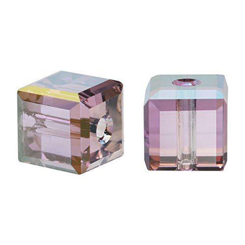 - Swarovski Crystal, 5601 Cube Beads 4mm, 10 Pieces, Crystal Lilac Shadow