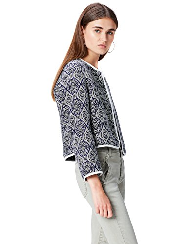 Mix Women's FIND Blue Jacquard Blue Cropped Jacket qYqxBdRfw