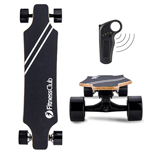 Fitnessclub Electric Longboard - Dual Motorized Electric Skateboard with Wireless Remote Control,Max Speed up to 22MPH