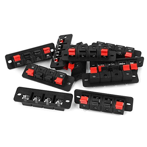 uxcell 10PCS 4 Way Push Release Connector Stereo Speaker Terminal Strip Block
