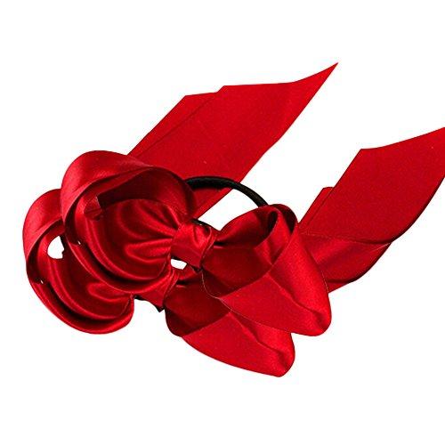 Catnew 2Pcs Ribbon Rope Bowknot Hair Ties Elastic Hair Band Girl Headbands (Red Girls Hair Band)