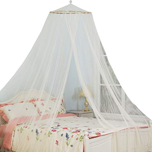 South To East King Size Bed Canopy, Ivory Color Mosquito Net for Indoor/Outdoor, Camping or Bedroom Fit A King Size Bed, Made by Fire Retardant - Canopy Ivory Bed