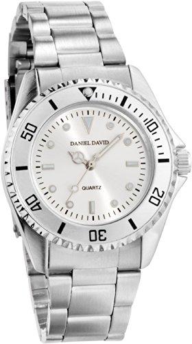 Daniel David Men's   Classic Silver-Tone Metal Bracelet Watch   (Silver Tone Metal Bracelet)