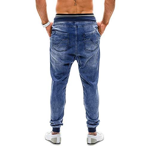 Coulisse Elasticizzato Stile Glamour Leggings Piedini Denim Calore Jeans Fit Con Slim Da Per E Blu Pantaloni Yunyoud Uomo mainstream In Uno Consumato Non Hx6qwXHP7