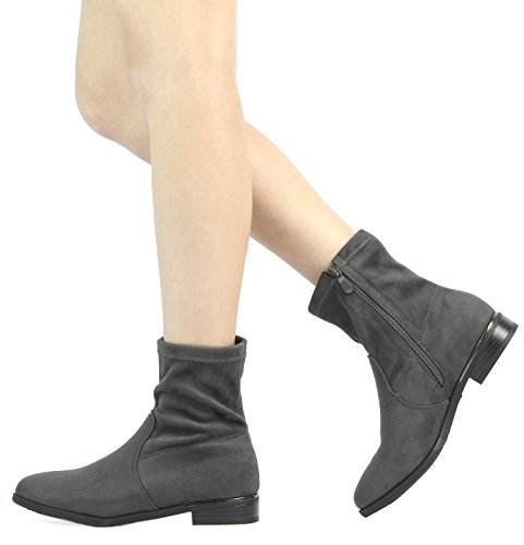Dream Pairs Mujeres Suede / Pu Chelsea Tobillo Botín Gris-r