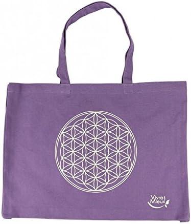 Bolsa de algodón orgánico con flor de vida - para yoga, para la compra.. Color: morado: Amazon.es: Deportes y aire libre