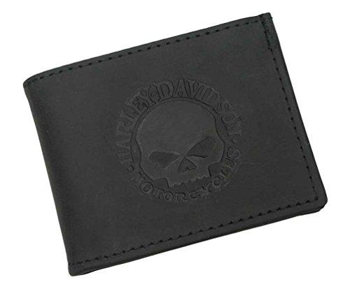 (Harley-Davidson Men's Embossed Willie G. Skull Bi-fold Wallet Black FB327H )