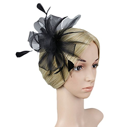 Vimans Women's Flowers Feather Veil Hats Wedding Hair Clip Fascinators Black