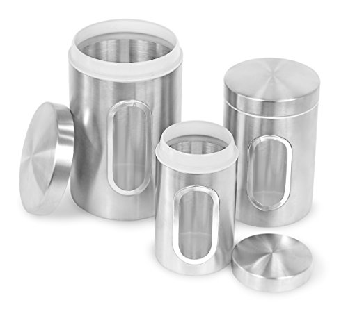 Set Canister Window (Internet's Best Stainless Steel Storage Canisters | Set of 3 | Kitchen Food Coffee Tea Pasta Sugar Flour Container | Storage Jar with Window)
