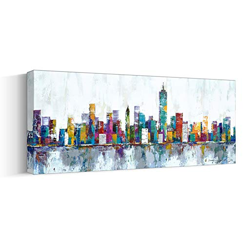 Cityscape Series abstract City Skyline Oil Painting for Livingroom Wall Art,Original Handpainted Landscape Artwork on Large Thick Canvas,Gallery-Wrapped Pine Wood Frame Office Wall Decor Ready-to-Hang