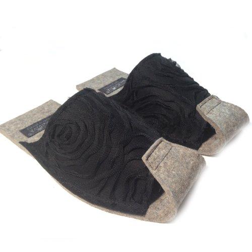 Tüll schwarz - Damenpantoffel von PantoffelDIVA, schwarz Merinofilz, Tüllauflage, Unisex Größe 38-42