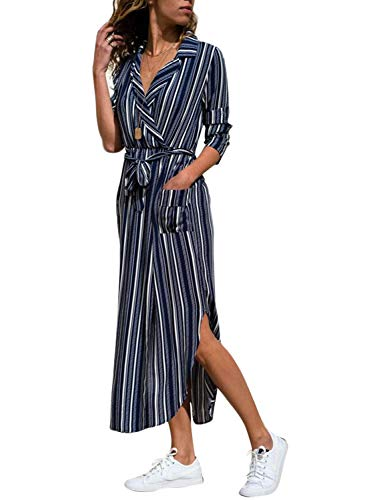 HOTAPEI Women's Plus Size Loose Striped Button up Collar Tie Waist Flowy Wrap Long Maxi Cardigan Dress with Belted Side Slit Blue L
