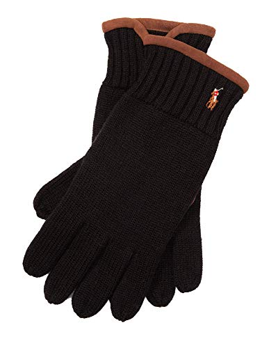 Men's Polo Ralph Lauren Winter Gloves Black Tan Suede (Ralph Lauren Polo Leather Gloves)