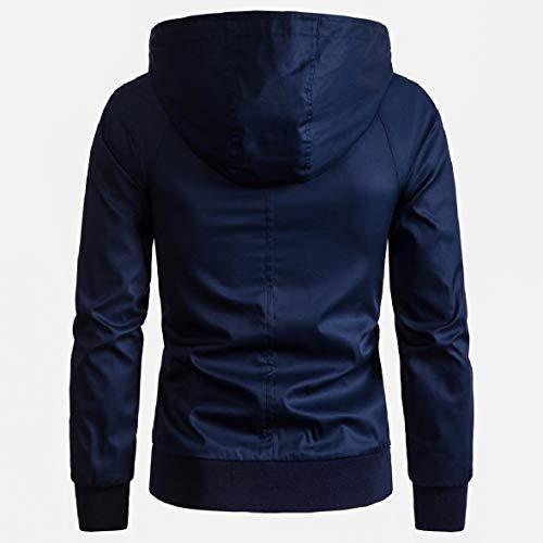 Lunga Hoode Blu Howme Cotone men Più Solido Outwear Navy Manica Di Del Formato Giacca Zwafzw