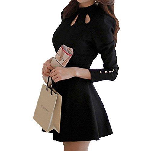LookbookStore Fashion Women's Black High-neck Three Keyholes Short Dress US 4