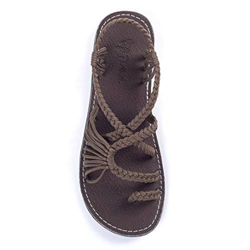 Plaka Flat Summer Sandals for Women Taupe Size10 Palm Leaf
