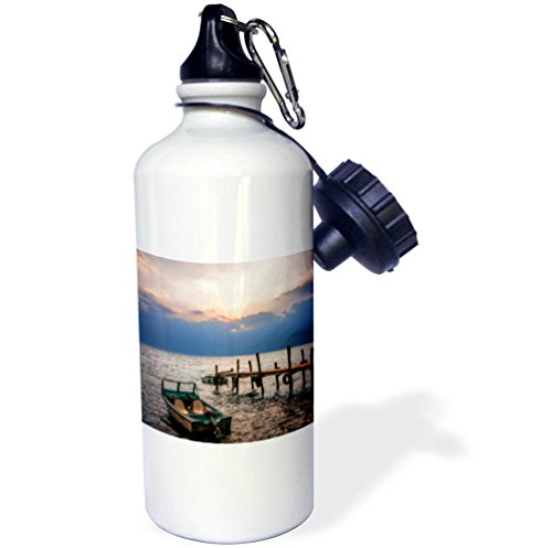 3dRose DanielaPhotography - Landscape, Nature - Sunset View from the Docks at Lake Atitlan, Guatemala. - 21 oz Sports Water Bottle (wb_280195_1) by 3dRose
