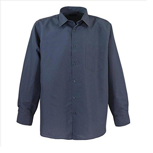 Klassisches Herren langarm Hemd von Lavecchia mit Brusttasche in Übergröße grau
