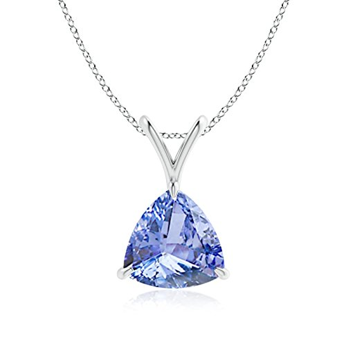 Claw-Set Trillion Tanzanite V-Bale Pendant in Platinum (8mm Tanzanite)