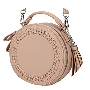 Women messenger bags leather female messenger bags small lady knitting circular bag,PINK