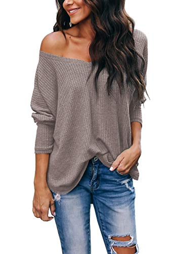 iGENJUN Women's Casual V-Neck Off-Shoulder Batwing Sleeve Pullover Sweater -