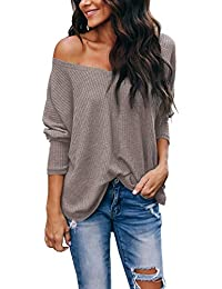 Women's Casual V-Neck Off-Shoulder Batwing Sleeve Pullover Sweater Tops