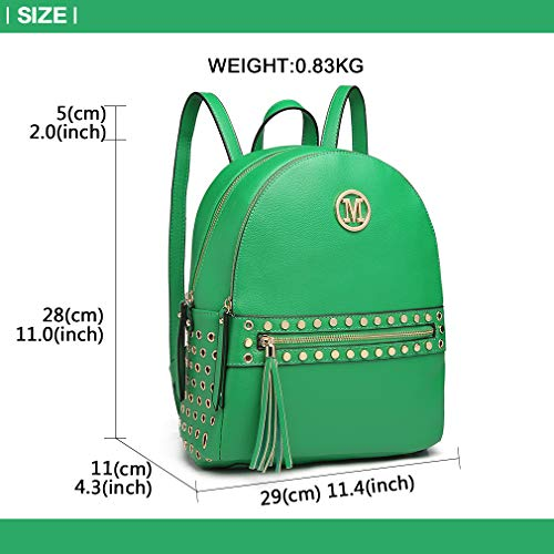 Green M Logo Shoulder Lulu Miss Grab Zipper Pouch Fashion detail Bag Handle Women Backpack Pu with Studded hole Handbags front Leather qRqABUHw