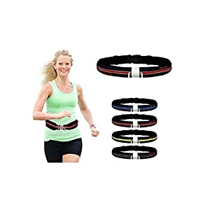 """Deluxe Running Belt: Best Reflective, Double Pouch Fanny Waist Pack – Fits iPhone 6 Plus & All Smartphones, Water Resistant - by Above Elite (Red; 33""""-50"""")"""
