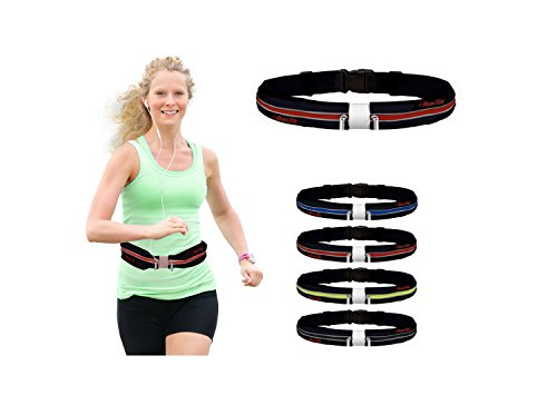- Above Elite Deluxe Running Belt: Best Reflective, Double Pouch Fanny Waist Pack - Fits iPhone 6 Plus & All Smartphones, Water Resistant (Red; 33