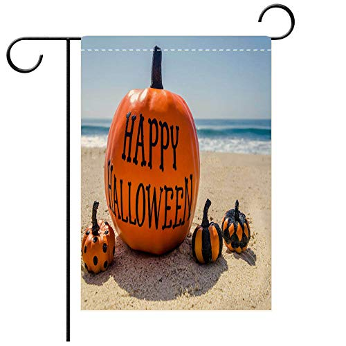 BEICICI Garden Flag Double-Sided Printing,Beach Happy Halloween Background with Pumpkins Decorative Deck, Patio, Porch, Balcony Backyard, Garden or Lawn]()