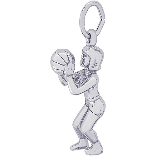 Rembrandt Charms Female Basketball Charm, 14K White Gold (Female Basketball Charm)