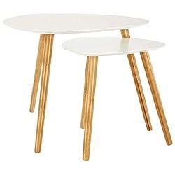 LOMOS® Set de tables basses Finja blanc constitué de 2 tables en bois