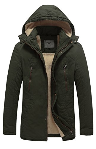 WenVen Men's Winter Mid Length Hooded Sherpa Lined Parka Jacket(Army Green,XL)