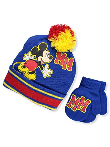 Disney Mickey Mouse Boys Beanie Knit Winter Hat and Mitten Set - Toddler Size {4015}