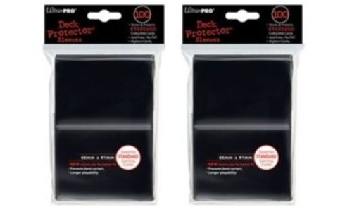 Ultra Pro (200) Black Deck Protector Sleeves 2-Packs - Standard Magic the Gathering size (2 Pack Deck)
