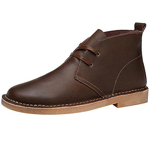 rismart Men's Ankle High Chukka Trendy Premium Leather Desert Boots SN01705(Dark - Points Advantage Boots